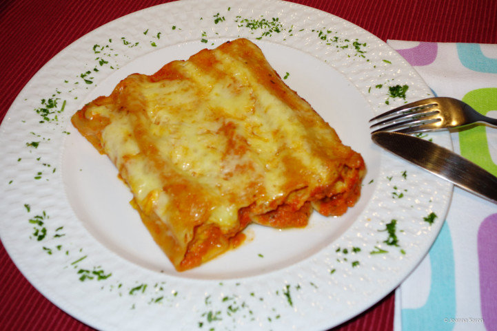 Cannelloni mit Kürbis-Kartoffel-Ricottafüllung