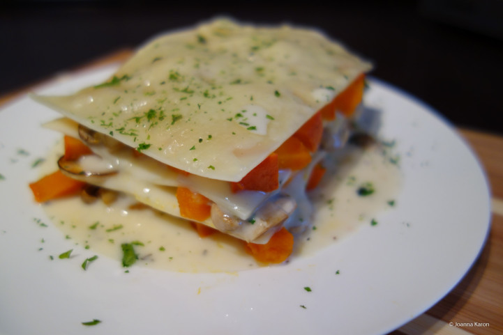 Kürbis-Champignons-Lasagne